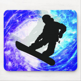 Snowboarder in Whiteout Mouse Pad
