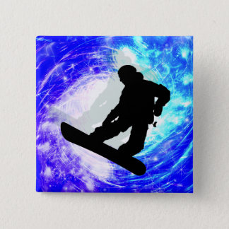 Snowboarder in Whiteout Pinback Button