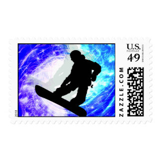 Snowboarder in Whiteout Stamp