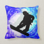 Snowboarder in Whiteout Throw Pillows