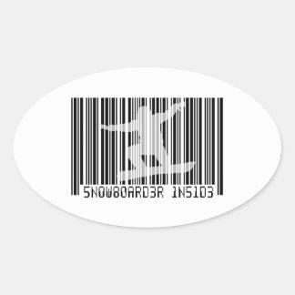 SNOWBOARDER INSIDE Barcode Oval Sticker