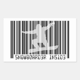 SNOWBOARDER INSIDE Barcode Rectangular Sticker