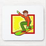 Snowboarder joven alfombrillas de ratones