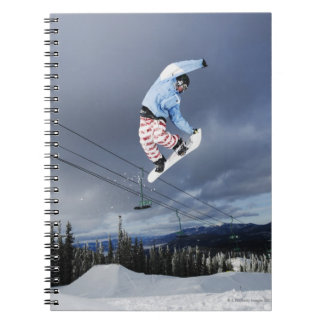 Snowboarder jumping in mid-air doing a backside notebook