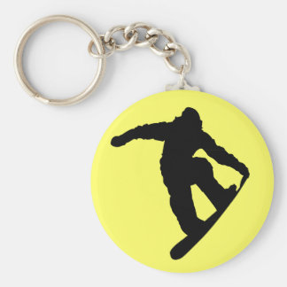 Snowboarder Llavero Redondo Tipo Pin