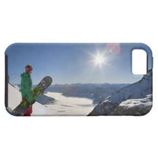 Snowboarder looking from mountain top iPhone SE/5/5s case