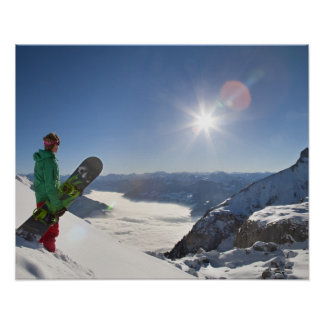 Snowboarder looking from mountain top poster