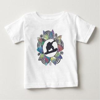 Snowboarder Mountain Flower Baby T-Shirt