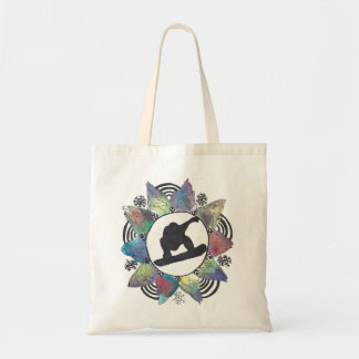 Snowboarder Mountain Flower Tote Bag