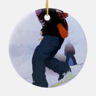 Snowboarder Moves Ceramic Ornament