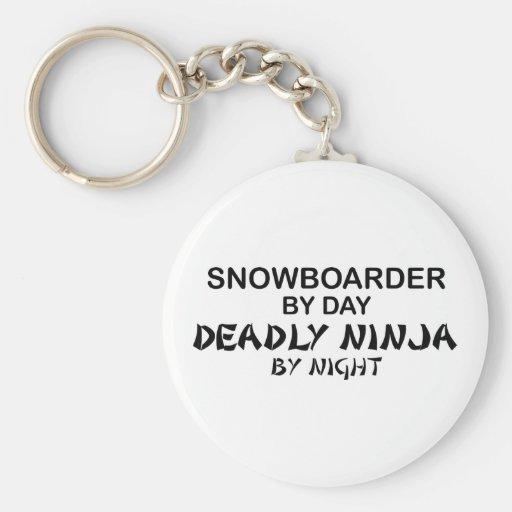 Snowboarder Ninja mortal por noche Llaveros