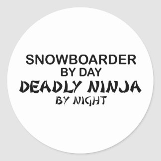 Snowboarder Ninja mortal por noche Pegatinas Redondas