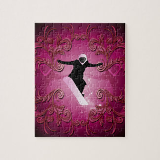 Snowboarder on purple background jigsaw puzzles
