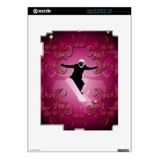 Snowboarder on purple background skin for the iPad 2