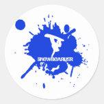 Snowboarder Paint Splatter Classic Round Sticker