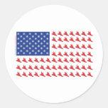 Snowboarder-Patriotic-Flag Classic Round Sticker