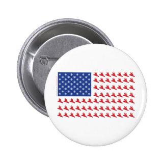 Snowboarder-Patriotic-Flag Pinback Button