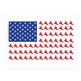 Snowboarder-Patriotic-Flag Postcard