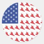 Snowboarder-Patriotic-USA-Flag Classic Round Sticker