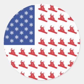 Snowboarder-Patriótico-E.E.U.U.-Bandera Pegatina Redonda