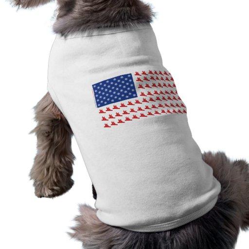 Snowboarder-Patriótico-E.E.U.U.-Bandera Camiseta De Mascota