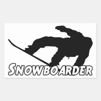 Snowboarder Rectangular Pegatina