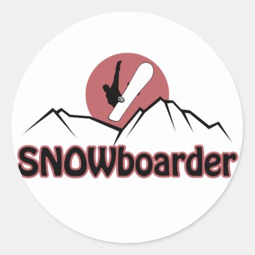 Snowboarder Pegatina Redonda
