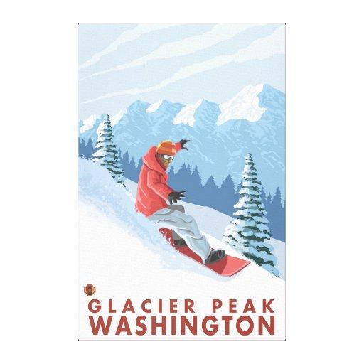 Snowboarder Scene - Glacier Peak, Washington Canvas Print