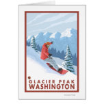 Snowboarder Scene - Glacier Peak, Washington Greeting Card