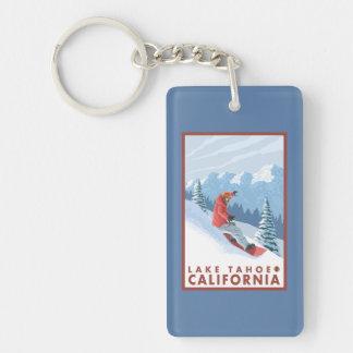 Snowboarder Scene - Lake Tahoe, California Double-Sided Rectangular Acrylic Keychain