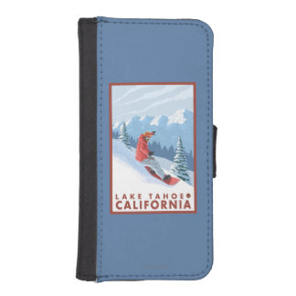 Snowboarder Scene - Lake Tahoe, California iPhone 5 Wallet Cases