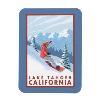 Snowboarder Scene - Lake Tahoe, California Rectangular Photo Magnet