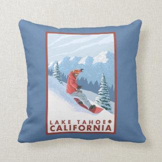 Snowboarder Scene - Lake Tahoe, California Throw Pillow