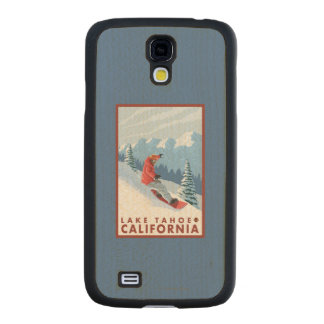 Snowboarder Scene - Lake Tahoe, California Carved® Maple Galaxy S4 Slim Case