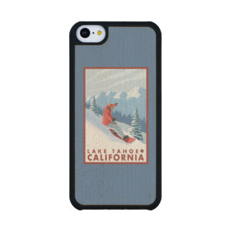 Snowboarder Scene - Lake Tahoe, California Carved® Maple iPhone 5C Case