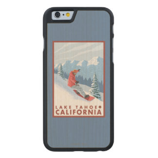 Snowboarder Scene - Lake Tahoe, California Carved® Maple iPhone 6 Case