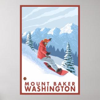Snowboarder Scene - Mount Baker, Washington Poster