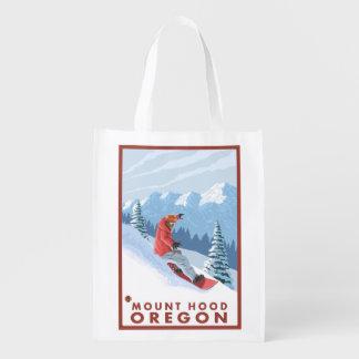 Snowboarder Scene - Mount Hood, Oregon Market Totes