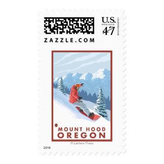 Snowboarder Scene - Mount Hood, Oregon Postage