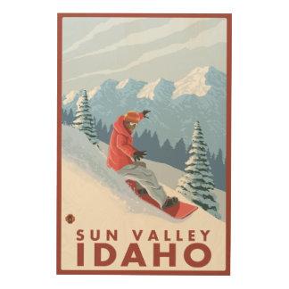 Snowboarder Scene - Sun Valley, Idaho Wood Wall Art