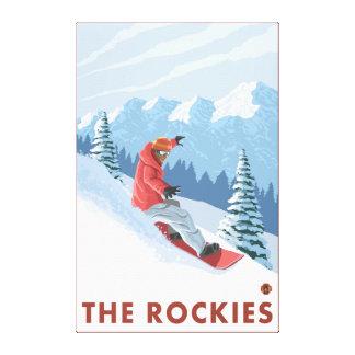 Snowboarder Scene - The Rockies Canvas Print