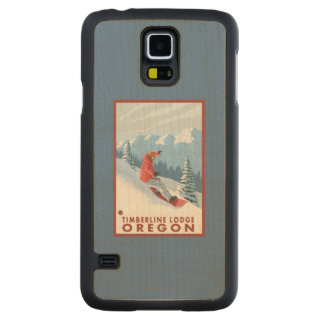 Snowboarder Scene - Timberline Lodge, Oregon Carved Maple Galaxy S5 Slim Case
