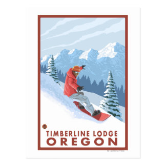 Snowboarder Scene - Timberline Lodge, Oregon Postcard