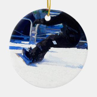Snowboarder Skidding Winter Sports Gift Ceramic Ornament