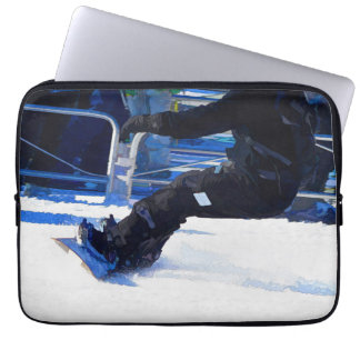 Snowboarder Skidding Winter Sports Gift Laptop Sleeve