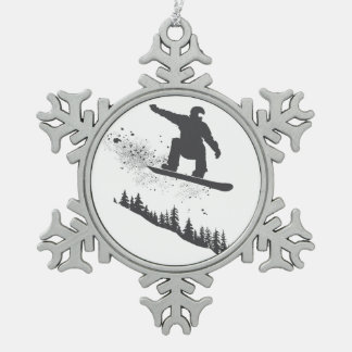 Snowboarder Snowflake Pewter Christmas Ornament