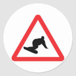 snowboarder warning sign classic round sticker