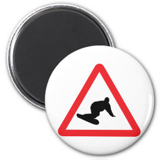 snowboarder warning sign magnet