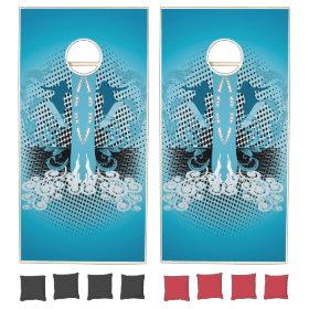 Snowboarder with blue damasks cornhole sets