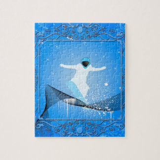 Snowboarder with snowflakes puzzle